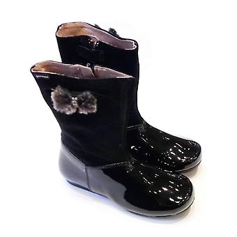 Garvalin Girls Black Patent Leather Mid Calf Boots With Furry Bow | Garvalin 121403