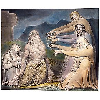 William Blake - Job Rebuked by His Friends Poster Print Giclee
