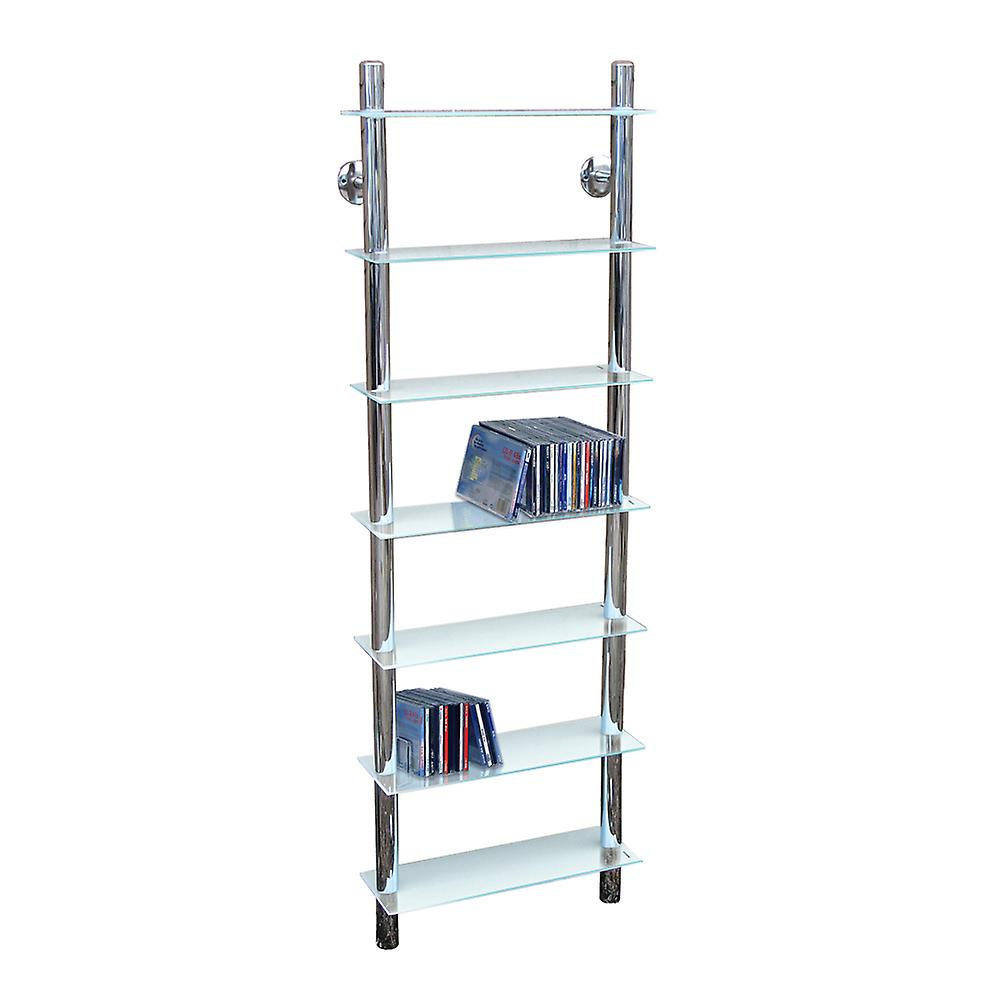 Matrix - Wall Mounted Glass 266 Cd / Media 7 Tier Storage Shelves - Clear
