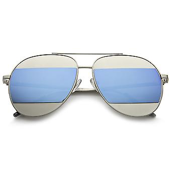 Two-Toned Matte Metal Brow Bar Color Split Mirror Lens Aviator Sunglasses 57mm