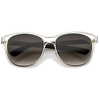 Modern Open Metal Brow Square Lens Horn Rimmed Sunglasses 57mm
