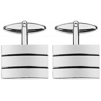 Orton West Rhodium Plated Centre Stripes Rectangular Cufflnks - Silver