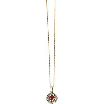 Elements Gold Skylight 9ct Gold Ruby and Diamond Cluster Pendant - Red/Gold