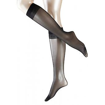 Falke Matt Deluxe 20 Denier Transparent Matt knä höga Tights - svart