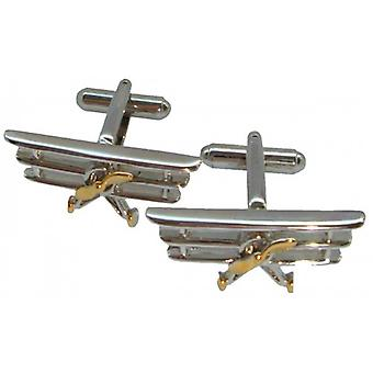 Bassin and Brown Triplane Cufflinks - Silver