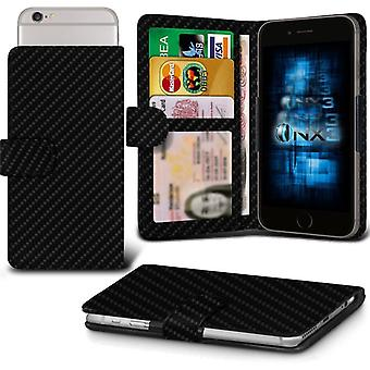 ONX3 ZTE Kis 3 Max Leather Universal Spring Clamp Wallet Case With Card Slot Holder and Banknotes Pocket-Carbon Black