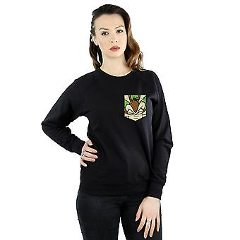 Looney Tunes Women's Wile E. Coyote Face Faux Pocket Sweatshirt
