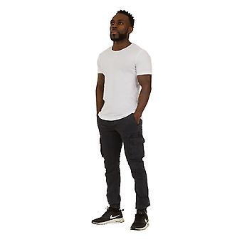 Men's Cargo Trousers - Navy Cargo pockets Elasticated and Zipped at ankle