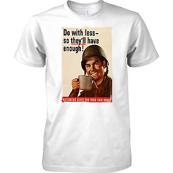 WW2 US Military Propoganda Poster - Do With Less - Mens T Shirt