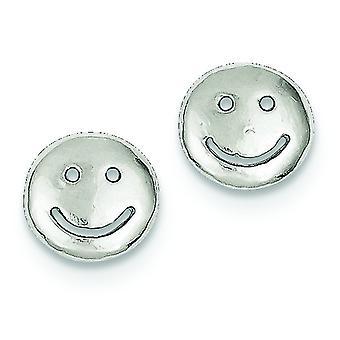 Sterling Silver Polished Post Earrings Smiley Faces Mini Children Earrings - 1.1 Grams
