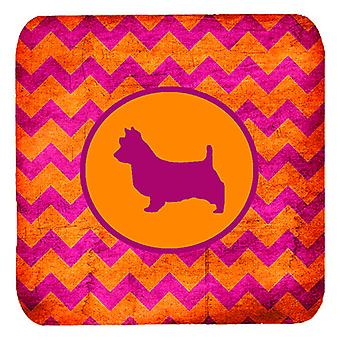 Set of 4 Australian Terrier Chevron Pink and Orange Foam Coasters