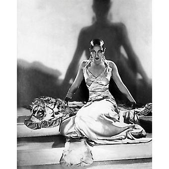 Josephine Baker on Tiger Rug 1925 Poster Print by McMahan Photo Archive (8 x 10)