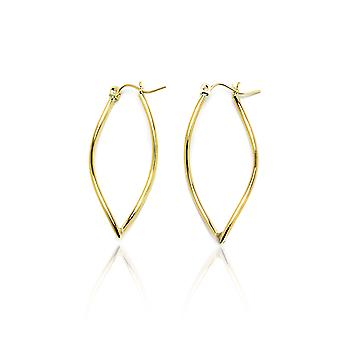14k Yellow Gold Wave Shaped Pointing Oval Hoop Earring in Gift Box