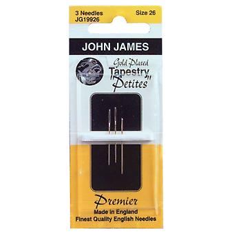 Gold Plated Tapestry Petites Hand Needles Size 28 3 Pkg Jg199 28