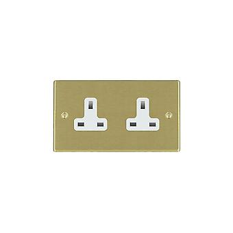 Hamilton Litestat Hartland Satin Brass 2g 13A Unswitched Socket WH