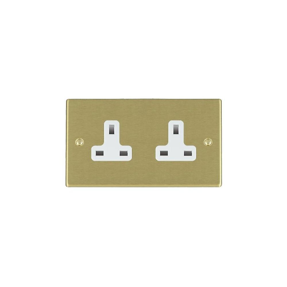 Hamilton Litestat Hartland Satin Brass 2g 13A Unswitched Socket WH