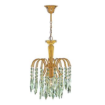 Waterfall Gold Ceiling Pendant Light With Crystal Decoration - Searchlight 6271-1