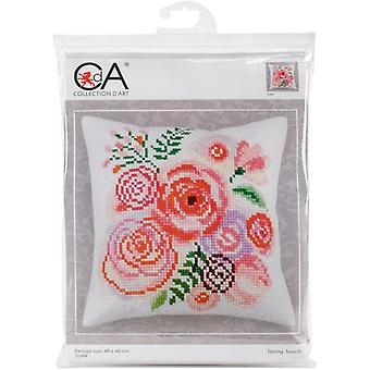 Collection D'Art Stamped Needlepoint Cushion Kit 40X40cm-Spring Bunch CD5264
