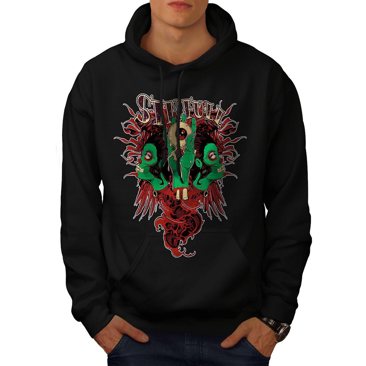 Horror Living Dead Zombie Men Black Hoodie | Wellcoda