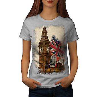Big Ben Flag London UK Women GreyT-shirt | Wellcoda