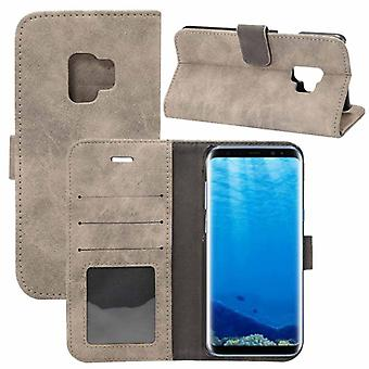 Deluxe retro bag wallet grey for Samsung Galaxy S9 G960F protection sleeve case cover pouch new