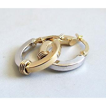 Bicolor gold Christian earrings