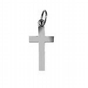 Sølv 17x10mm vanlig solid blokk Cross