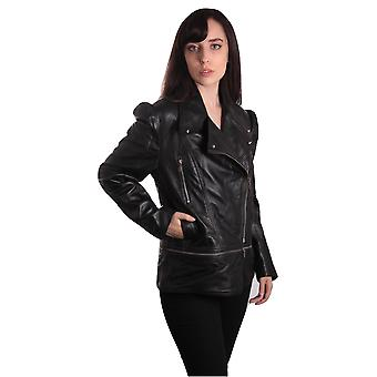 Ladies Anthracite Black Leather Jacket