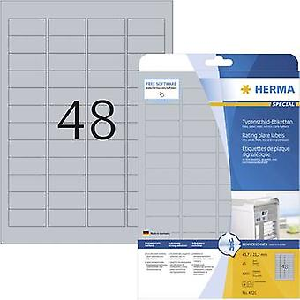 Herma 4221 Labels (A4) 45.7 x 21.2 mm Polyester film Silver 1200 pc(s) Permanent Nameplates Laser, Copier