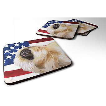 Set of 4 Pekingese Patriotic Foam Coasters Set of 4