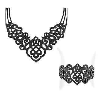 Set necklace and Bracelet Arabesque in Silicone black tattoo effect