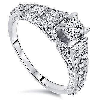 5/8ct Vintage Filigree Princess Cut Diamond Engagement Ring 14K White Gold