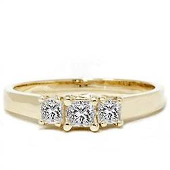 1/2ct Three Stone Diamond Ring Princess Cut 14k Gold