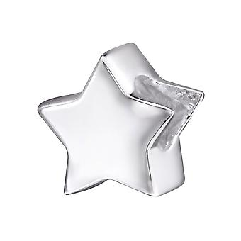 Star - 925 Sterling Silver Plain Beads - W29523x