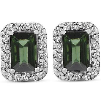 1 3/8ct Emerald Shape Green Tourmaline Pave Halo Diamond Studs 14K White Gold