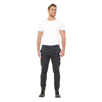 Men's Cargo Trousers - Navy Slim Fit  Elasticated at ankle