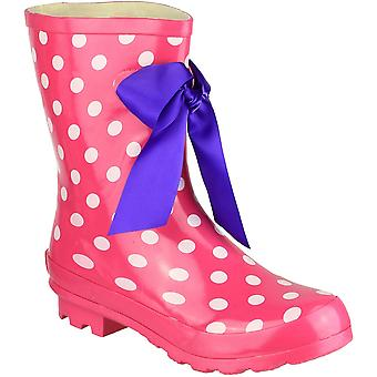Cotswold Ladies Gatcombe Fashion Stripe Welly Wellington Boot Pink