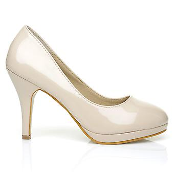 CHIP Nude Patent Leather Pumps Mid-High Heel Low Platform Office Court Shoes