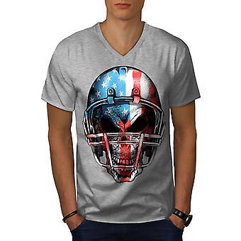 Amerika Fußball Männer GreyV-Neck T-shirt   Wellcoda