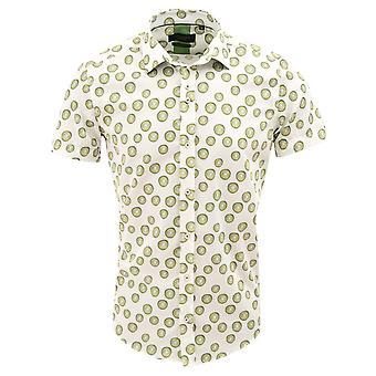 Guide London White Cotton Lime Print Mens Short Sleeve Shirt