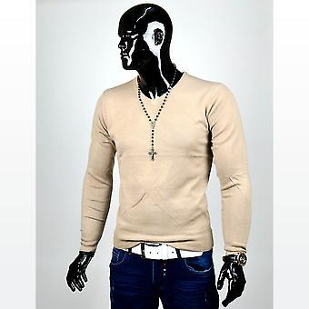 Mens Sweatshirt Raglan Sweat pullover V-Neck Cashmere