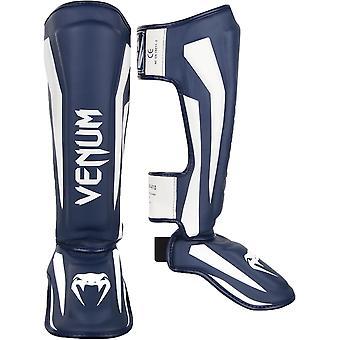 Venum Elite Lightweight Hook and Loop Shin Guards - White/Navy Blue