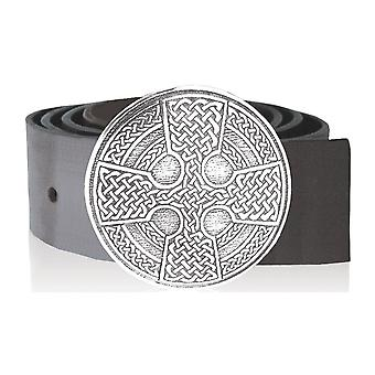 Celtic Knot Cross Round Pewter Kilt Buckle 88mm Diameter