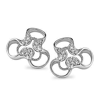 Orphelia sølv 925 ørering blomst hvid Zirconium ZO-5033