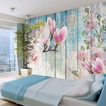 Wallpaper - Pink Flowers on Wood