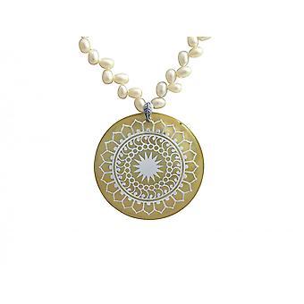 Gemshine - damer - halskæde - vedhæng - medaljon - perler - 925 sølv - hvid - 5 cm