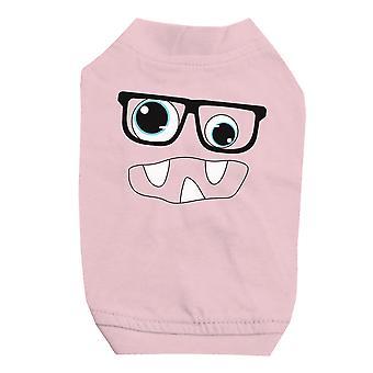 モンスターと小型犬用のピンクのペット t シャツのメガネ