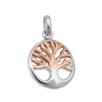 Pendant tree of live bicolor silver 925
