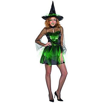 Glitter heks kostyme grønn sequin kjole damer Halloween heks