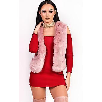 IKRUSH Womens Elisa Faux Fur Waistcoat